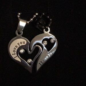 Jewelry - New I Love You puzzle necklace silver & black